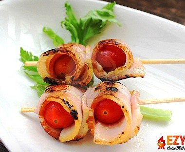 Bacon-wrapped Cherry Tomatoes (10 skewers)